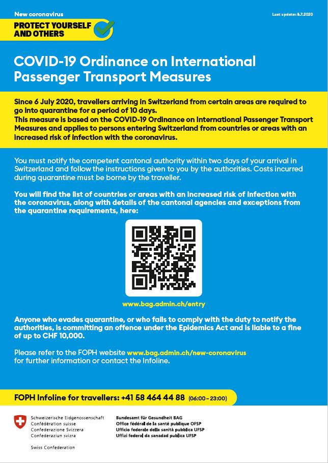 COVID-10 Ordinance on International Passenger Transport Measures 08.07.2020 BAG